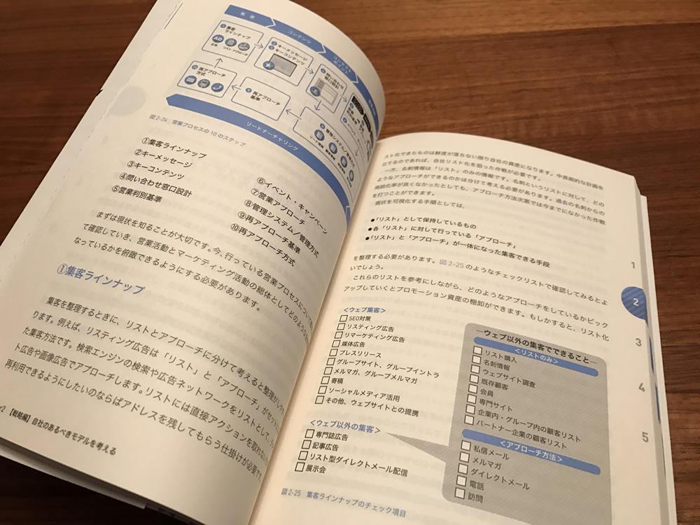 「BtoBウェブマーケティングの新しい教科書」図解も多く、2色刷りで読みやすい