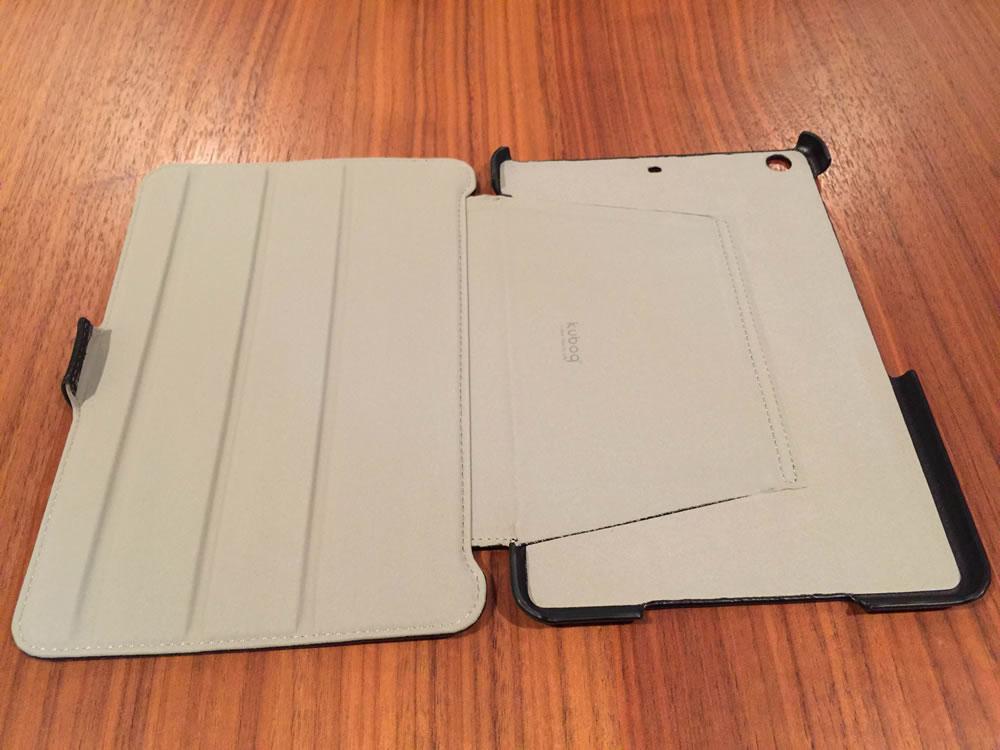オウルテック「iPad mini用 スタイリッシュ&スリムフラップケース」開いたところ