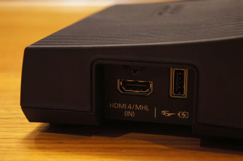 EPSON「WirelessHDトランスミッター」側面のHDMI端子
