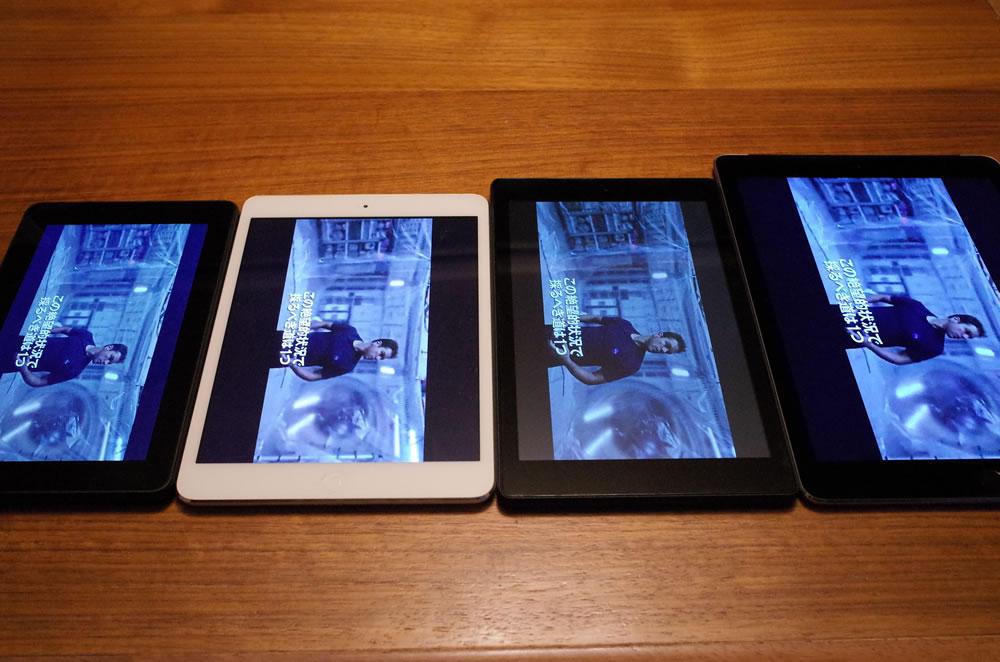 画面のサイズはそんなに差がないiPad air3、iPad mini2、Fire HD 8、Fire