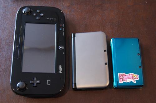 任天堂「Wii U GamePad」「3DS LL」「3DS」大きさ比較