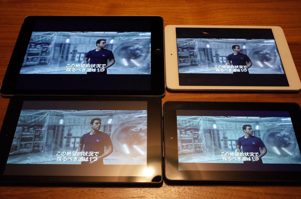 iPad air3(9.7インチ)、iPad mini2(7.9インチ)、Fire HD 8(8インチ)、Fire(7インチ)の比較