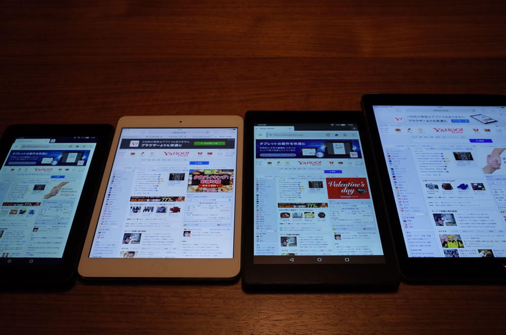 iPad air3、iPad mini2、Fire HD 8、FireでWebサイトの比較