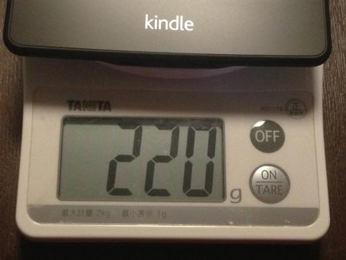 Amazon「Kindle Paperwhite 3G」の重さ220g