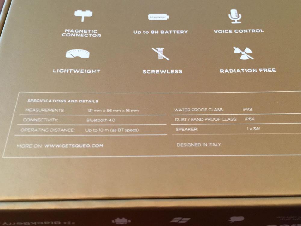 「SQueo : Advanced Waterproof Bluetooth Speaker」のスペック